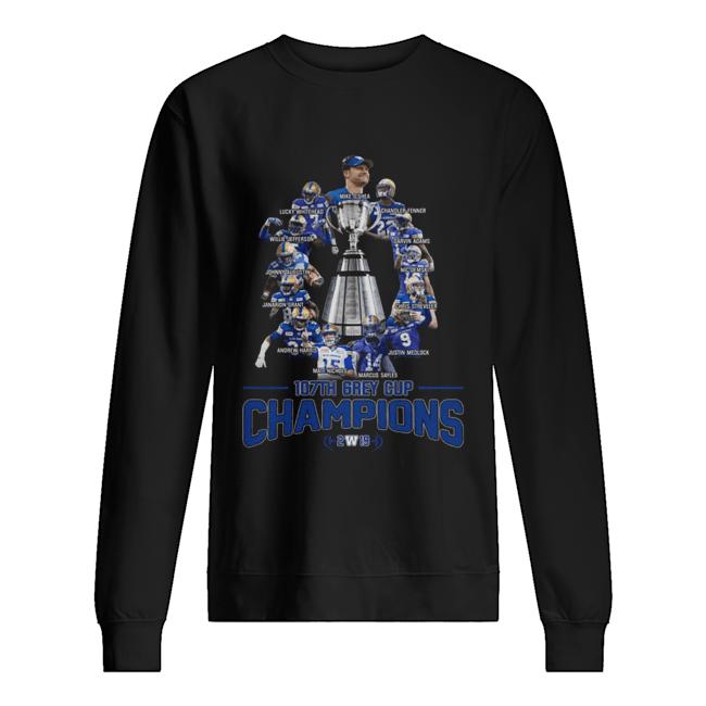 107th Grey Cup Blue Bombers Players Champions 2019  Unisex Sweatshirt