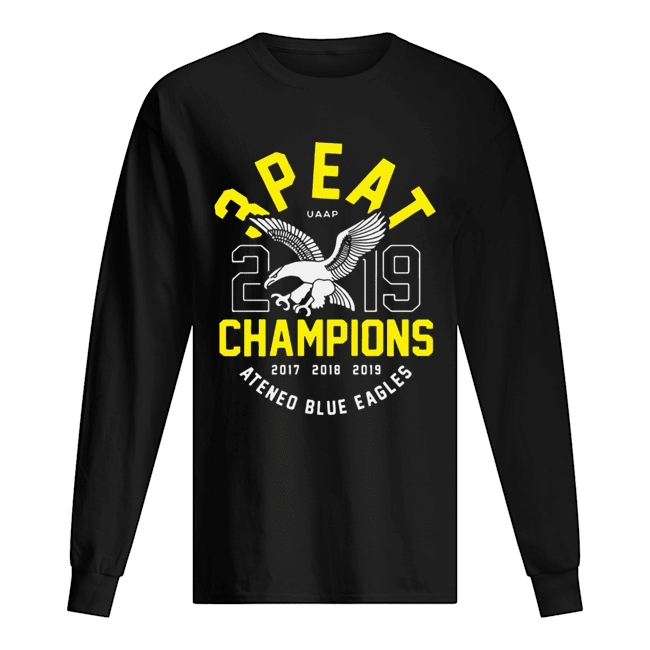 3peat UAAP 2019 Champion Ateneo Blue Eagles  Long Sleeved T-shirt
