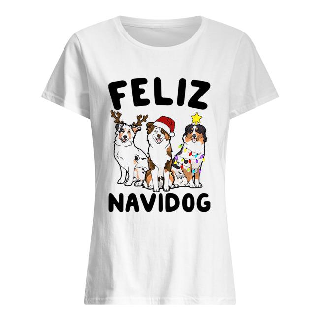 Australian Shepherd Feliz Navidog  Classic Women's T-shirt
