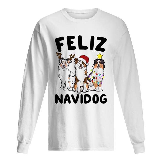 Australian Shepherd Feliz Navidog  Long Sleeved T-shirt