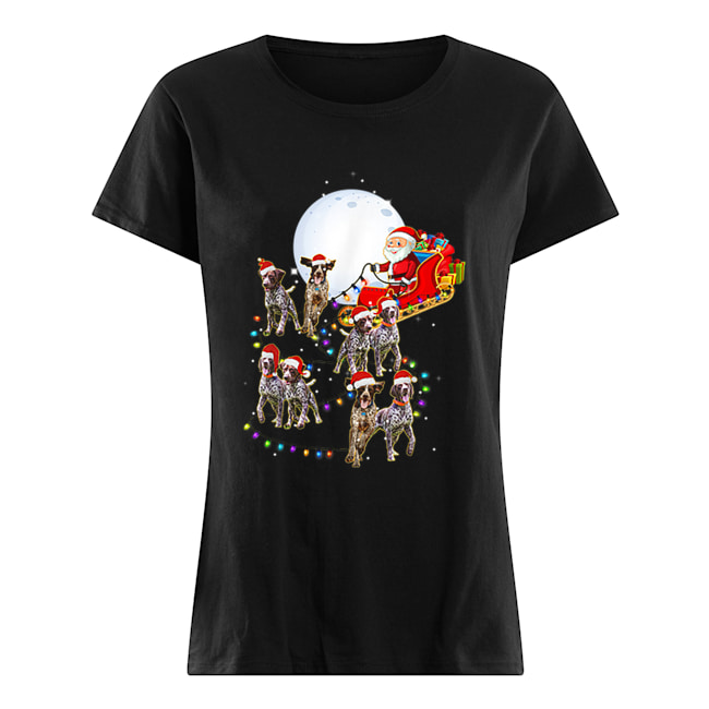 Beautiful German Shorthaired Pointer Christmas Reindeer Lights Gifts  Classic Women's T-shirt