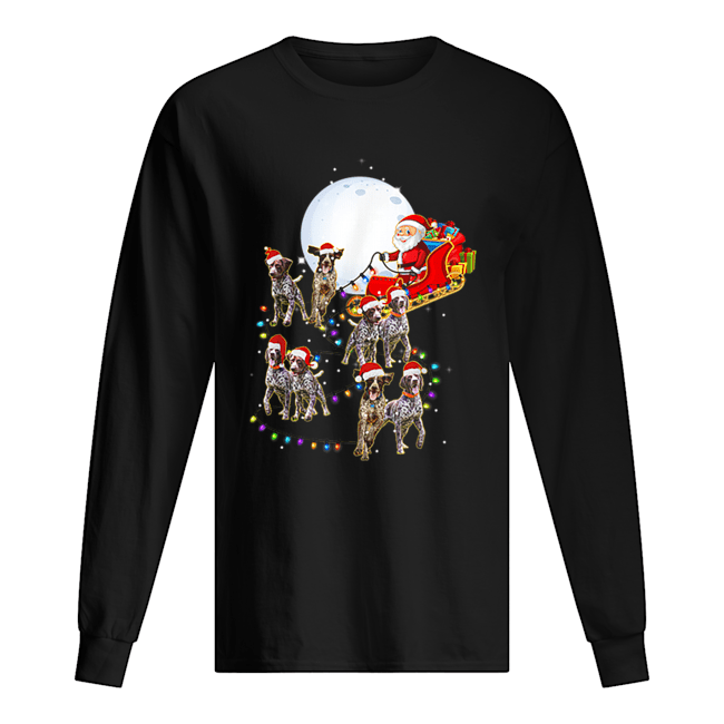 Beautiful German Shorthaired Pointer Christmas Reindeer Lights Gifts  Long Sleeved T-shirt