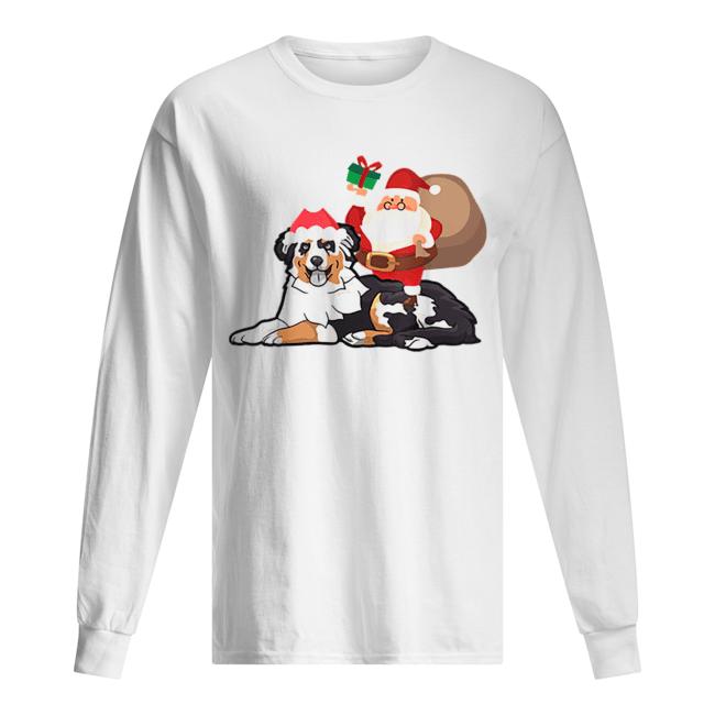 Beautiful Santa Riding Australian Shepherd Christmas Pajama Gift  Long Sleeved T-shirt