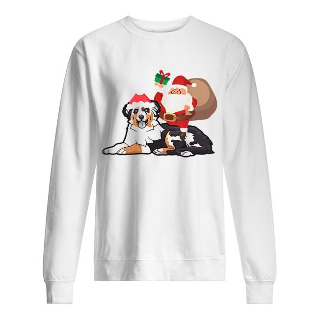 Beautiful Santa Riding Australian Shepherd Christmas Pajama Gift  Unisex Sweatshirt
