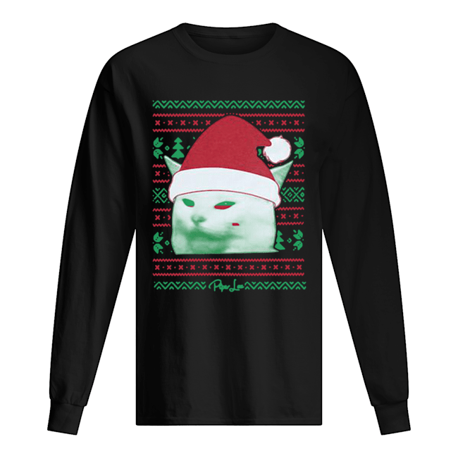 Cat being yelled at Christmas  Long Sleeved T-shirt