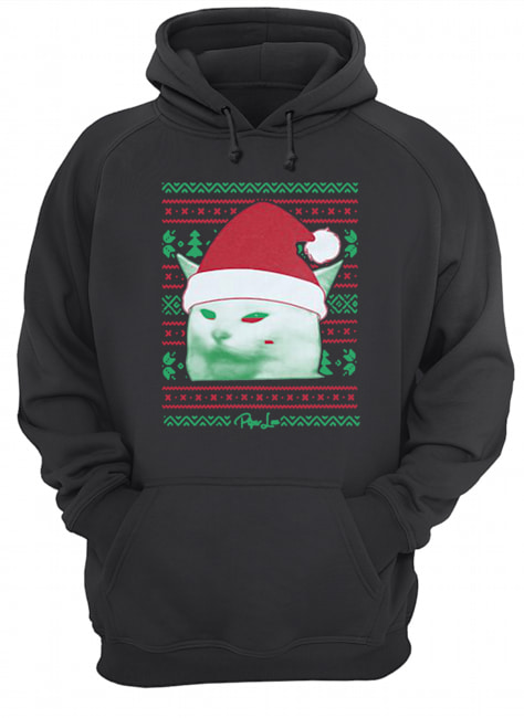 Cat being yelled at Christmas  Unisex Hoodie