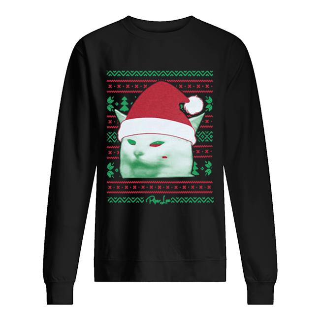 Cat being yelled at Christmas  Unisex Sweatshirt