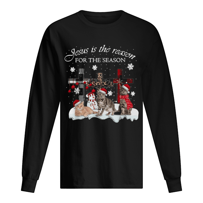 Cats Jesus is the reason for the season Christmas  Long Sleeved T-shirt