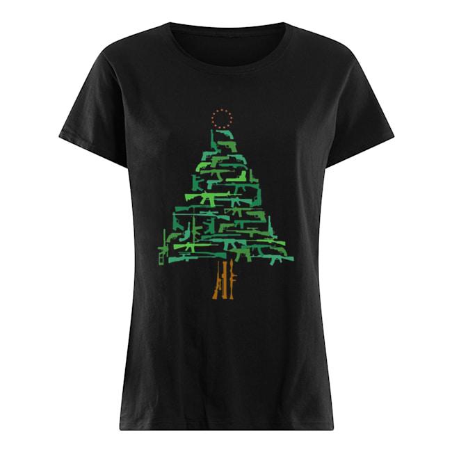 Christmas Tree Green Gun  Classic Women's T-shirt