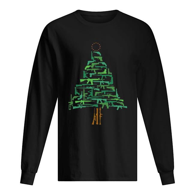 Christmas Tree Green Gun  Long Sleeved T-shirt