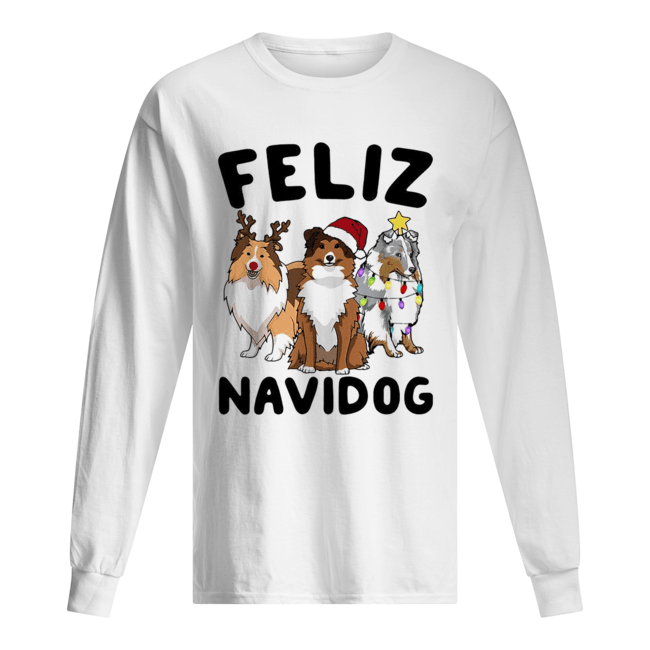 Collie Feliz navidog Christmas  Long Sleeved T-shirt