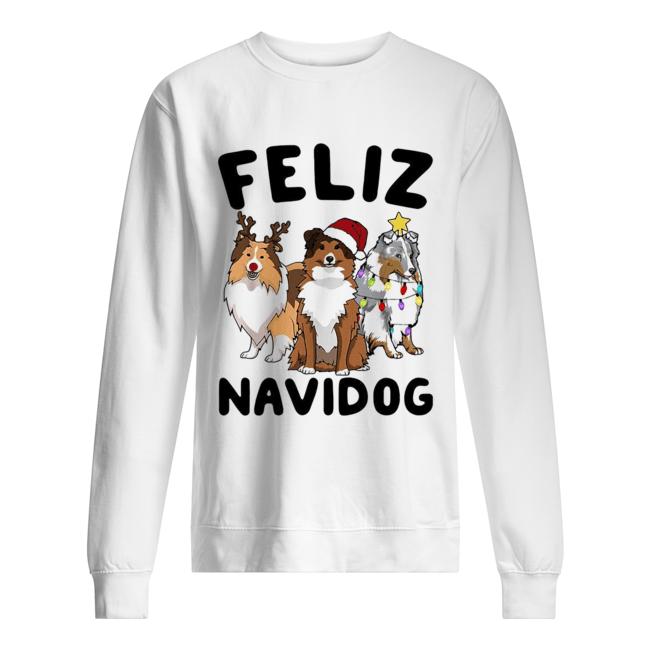 Collie Feliz navidog Christmas  Unisex Sweatshirt