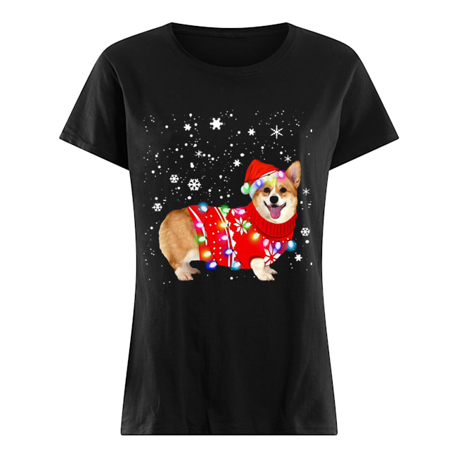 Corgi lovely christmas light Crewneck  Classic Women's T-shirt