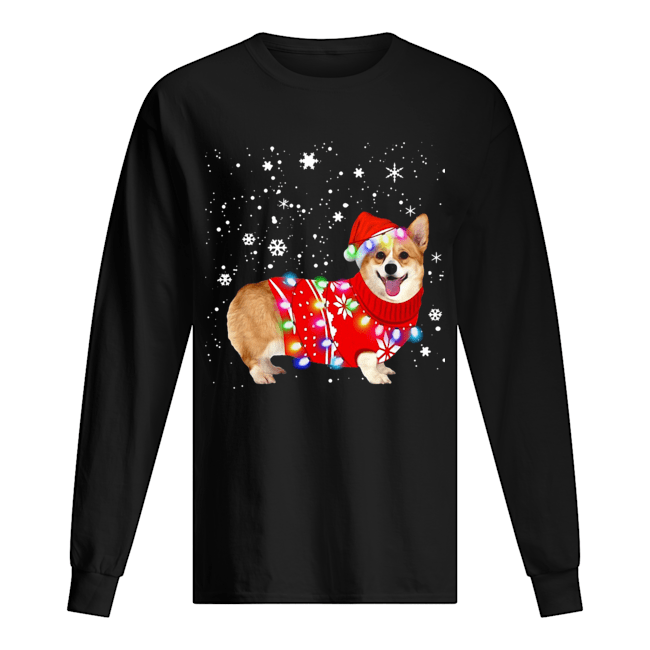 Corgi lovely christmas light Crewneck  Long Sleeved T-shirt