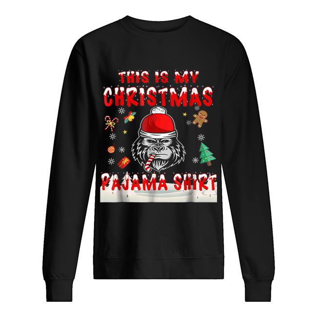 Cute Gorilla This Is My Christmas Pajama  Unisex Sweatshirt
