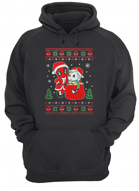 Deadpool unicorn ugly Christmas  Unisex Hoodie