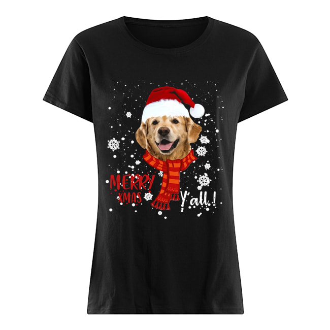 Golden Retriever Merry Xmas Y'all  Classic Women's T-shirt