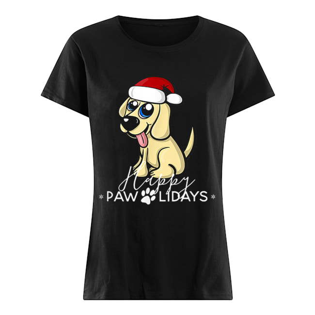 Golden Retriever Puppy Christmas Santa Hat  Classic Women's T-shirt