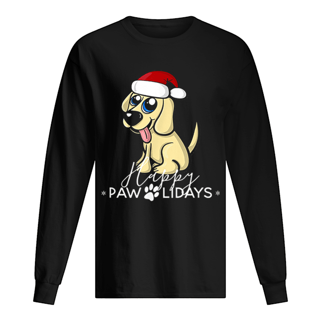 Golden Retriever Puppy Christmas Santa Hat  Long Sleeved T-shirt