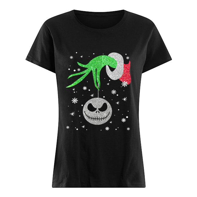 Grinch hand holding Jack Skellington Christmas  Classic Women's T-shirt