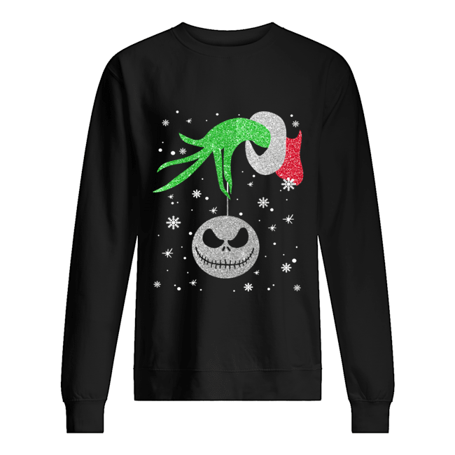 Grinch hand holding Jack Skellington Christmas  Unisex Sweatshirt