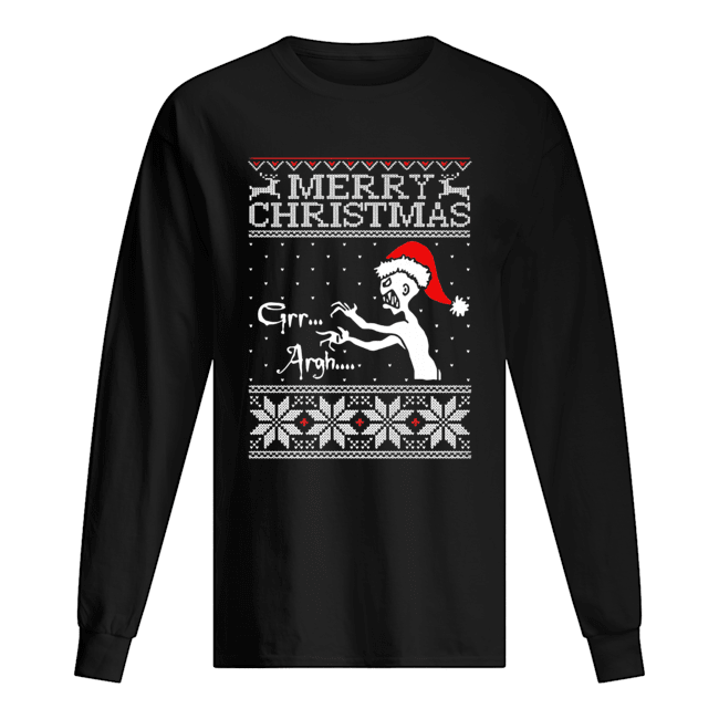 Grr Argh Vampire Monster Merry Christmas Ugly  Long Sleeved T-shirt