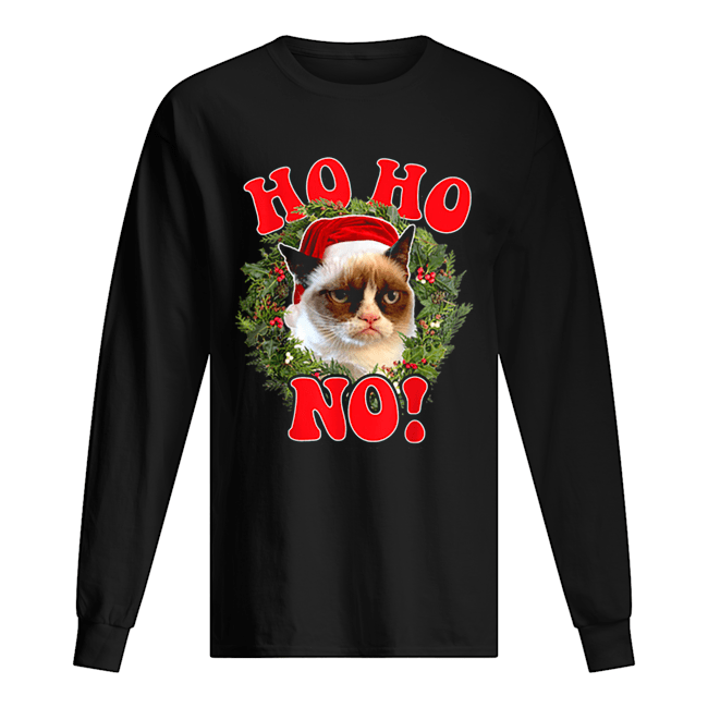 Grumpy Cat Ho Ho No Christmas Wreath Holiday Graphic  Long Sleeved T-shirt