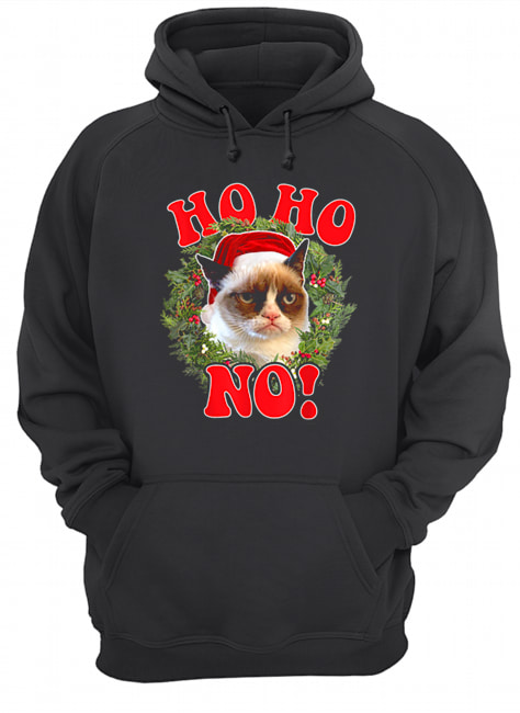 Grumpy Cat Ho Ho No Christmas Wreath Holiday Graphic  Unisex Hoodie