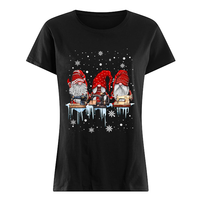 Hanging With Red Gnomies Sewing Machine Christmas  Classic Women's T-shirt