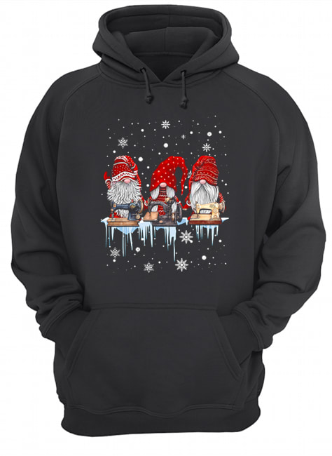 Hanging With Red Gnomies Sewing Machine Christmas  Unisex Hoodie