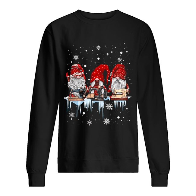 Hanging With Red Gnomies Sewing Machine Christmas  Unisex Sweatshirt