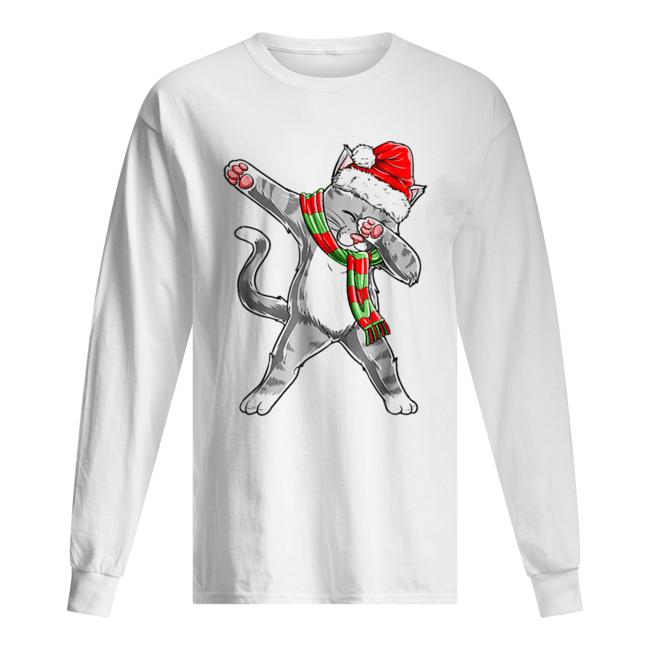 Hot Dabbing Cat Santa Christmas Kids Boys Girls Gifts  Long Sleeved T-shirt