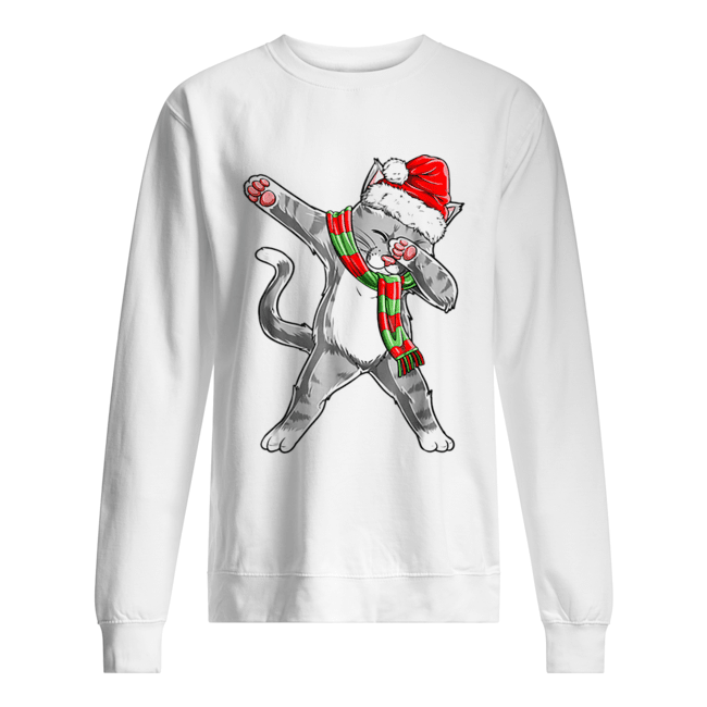 Hot Dabbing Cat Santa Christmas Kids Boys Girls Gifts  Unisex Sweatshirt