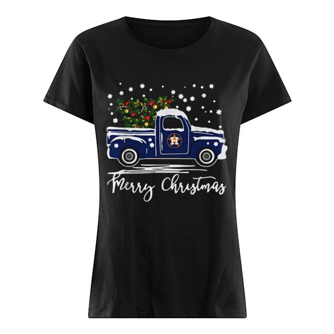 Houston Astros Blue car merry Christmas  Classic Women's T-shirt