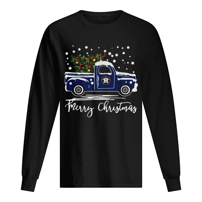 Houston Astros Blue car merry Christmas  Long Sleeved T-shirt