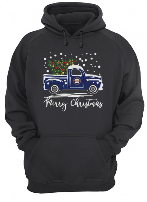 Houston Astros Blue car merry Christmas  Unisex Hoodie