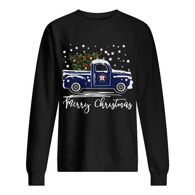 Houston Astros Blue car merry Christmas  Unisex Sweatshirt