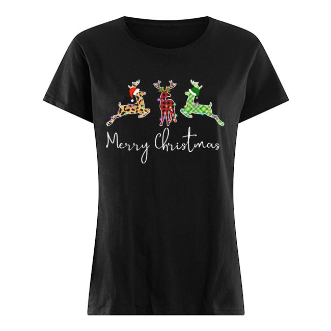 Hunting Leopard Merry Christmas  Classic Women's T-shirt