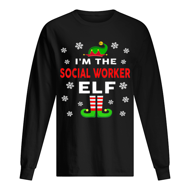 I Am The Social Worker Elf Christmas Sweater Gift Funny  Long Sleeved T-shirt