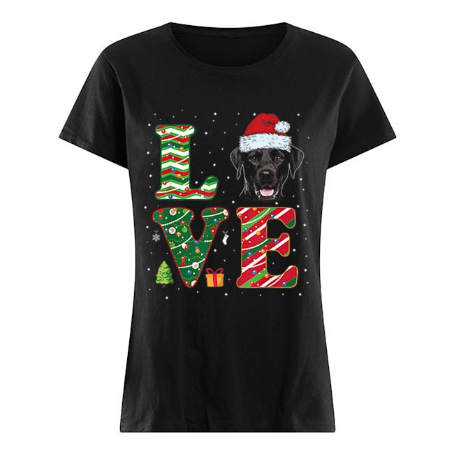 I Love Black Labrador Christmas Santa Hat Gift  Classic Women's T-shirt