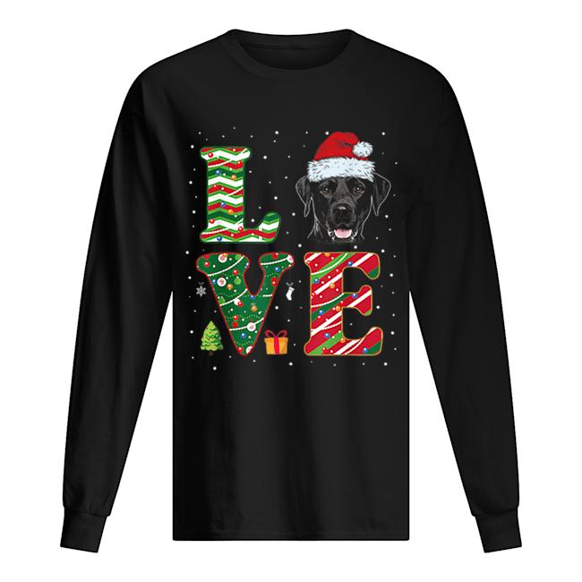 I Love Black Labrador Christmas Santa Hat Gift  Long Sleeved T-shirt