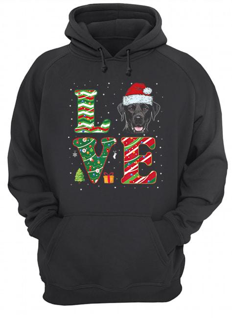 I Love Black Labrador Christmas Santa Hat Gift  Unisex Hoodie