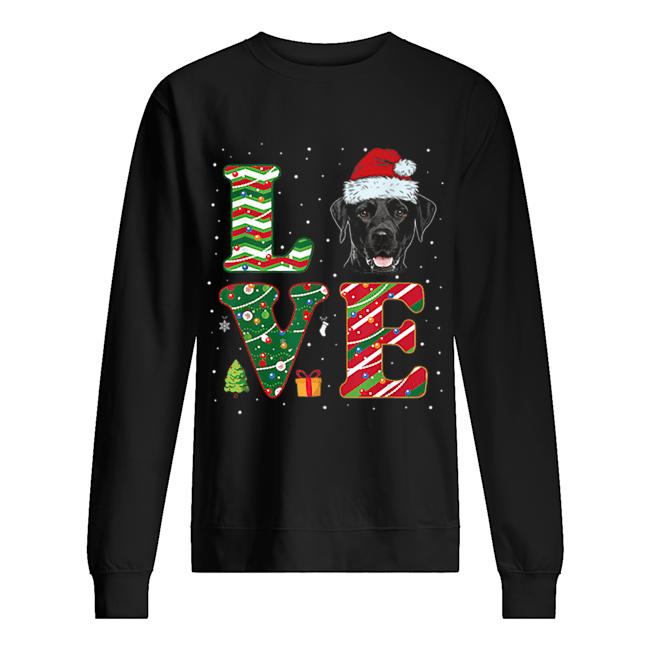 I Love Black Labrador Christmas Santa Hat Gift  Unisex Sweatshirt