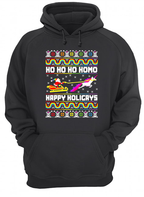LGBT Santa riding Unicorn ho ho ho homo happy holigays Christmas  Unisex Hoodie