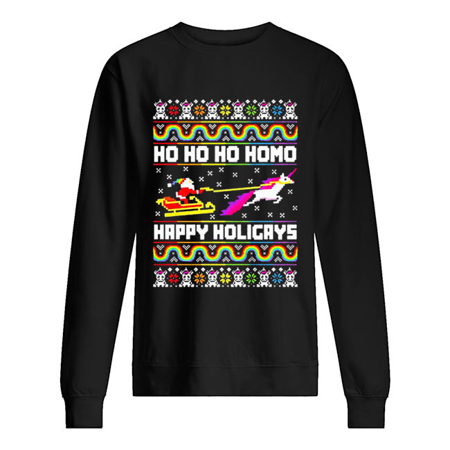LGBT Santa riding Unicorn ho ho ho homo happy holigays Christmas  Unisex Sweatshirt