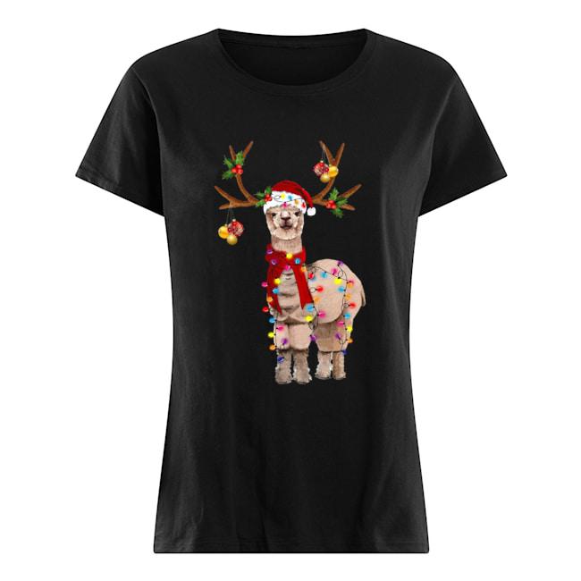 Llama reindeer light Christmas  Classic Women's T-shirt