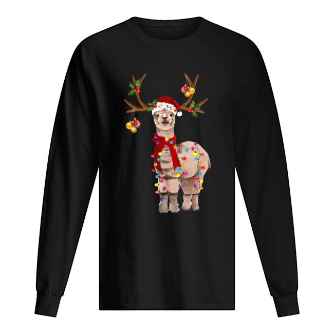 Llama reindeer light Christmas  Long Sleeved T-shirt