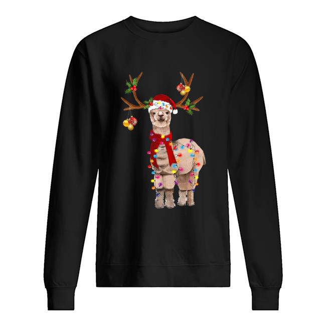 Llama reindeer light Christmas  Unisex Sweatshirt