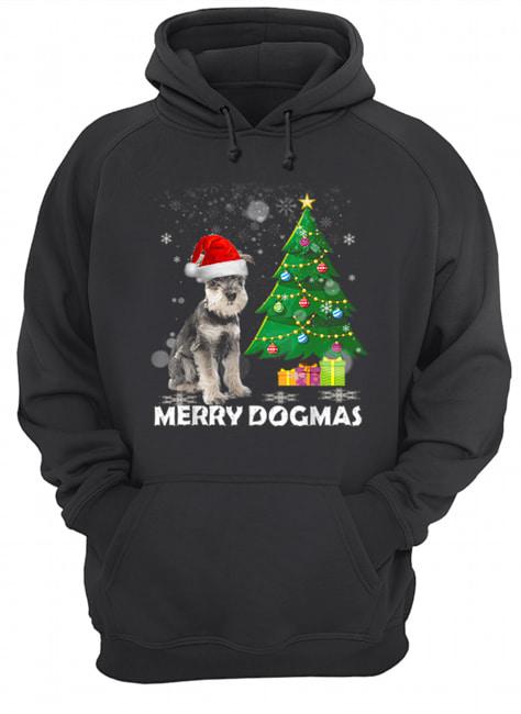 Merry Dogmas Schnauzer Christmas dog decor Xmas tree  Unisex Hoodie