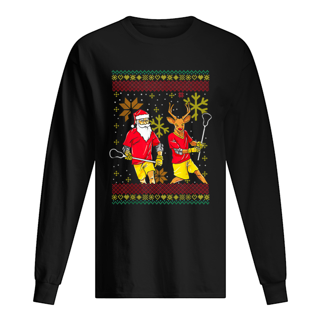 Merry Laxmas Christmas Lacrosse Player Reindeer Santa Claus  Long Sleeved T-shirt